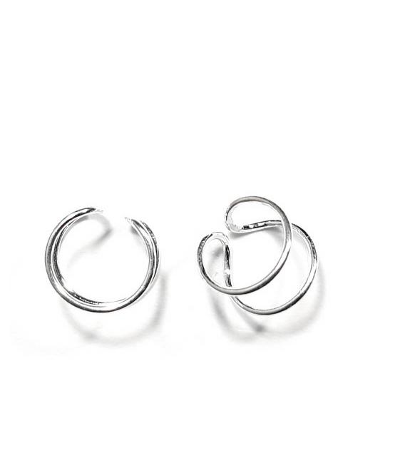 Ear cuff doble + fino plata