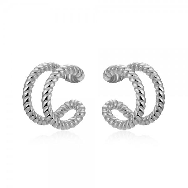 Ear cuff doble rizado plata