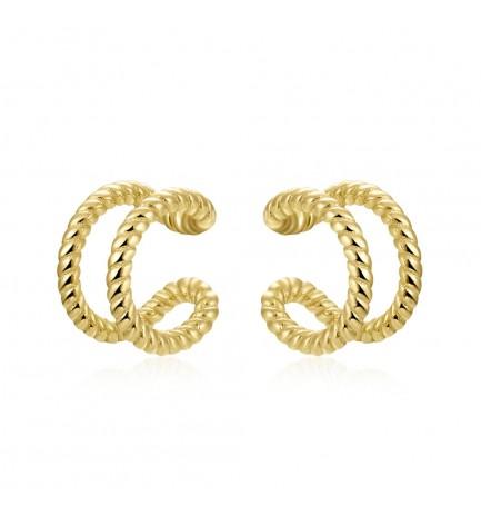 Ear cuff doble rizado oro