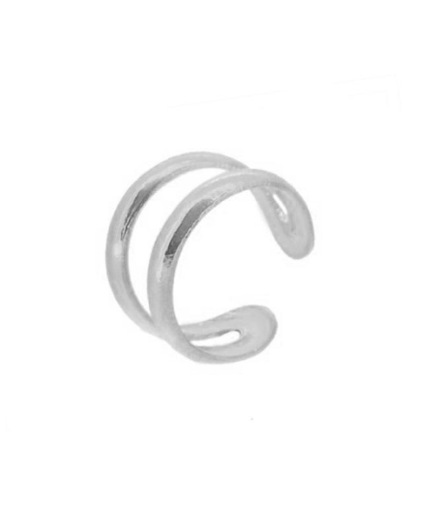 Ear cuff doble plata liso