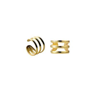 Ear cuff triple oro liso