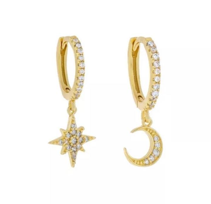 Aros + Estrella y Luna oro czs